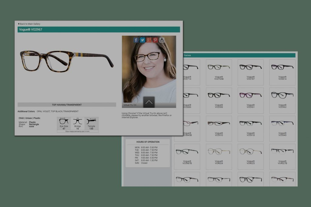 screenshots of database and woman trying on frames virtually